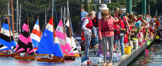 Fowey Royal Regatta sailing and crab catching